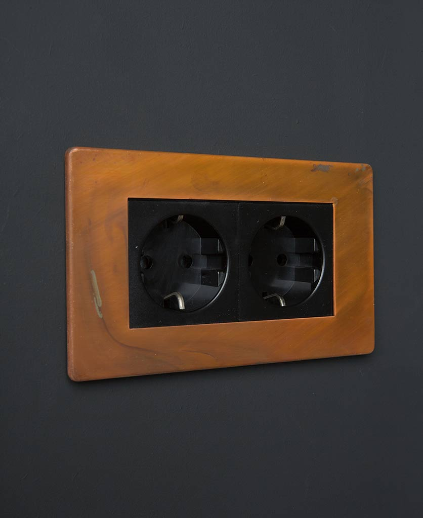 Tarnished Copper & Black Double Schuko Socket