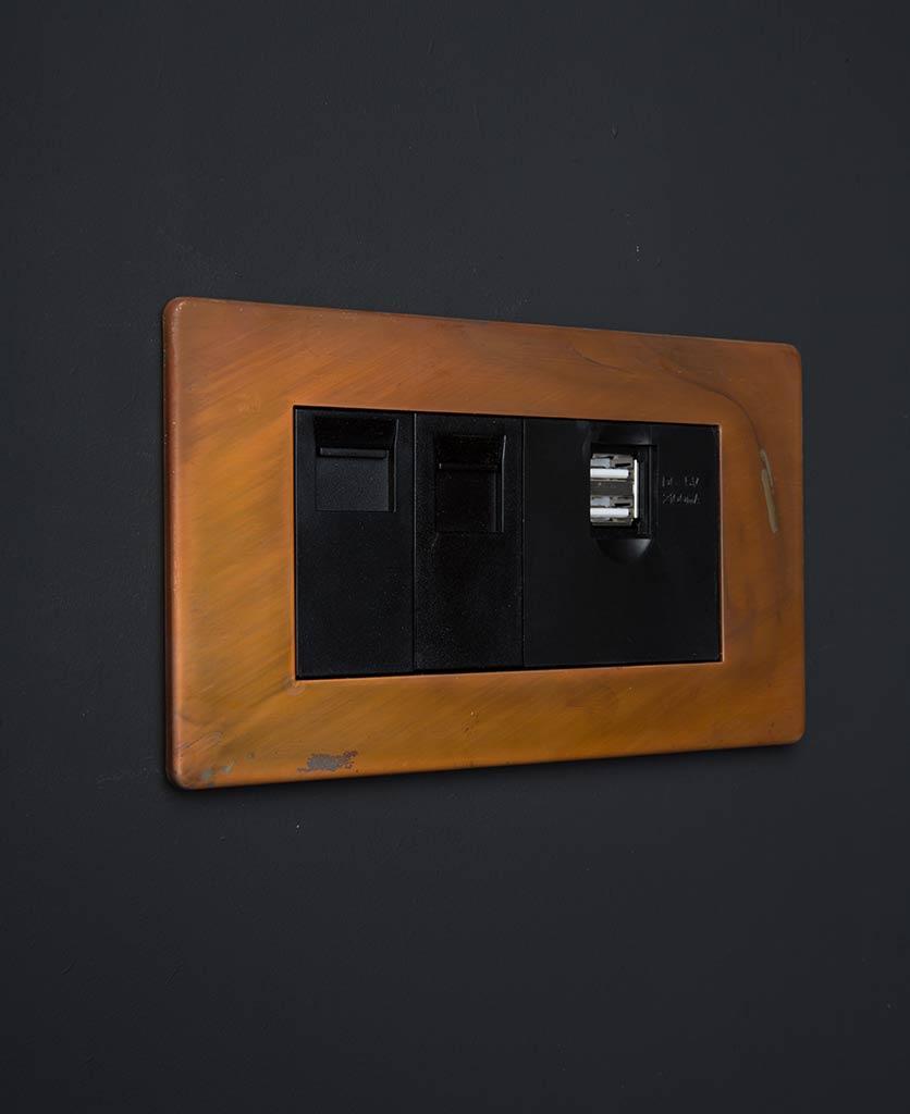 tarnished copper quad data port with black usb and ethernet inserts against black background