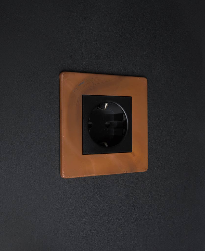Tarnished Copper & Black Schuko Single Socket