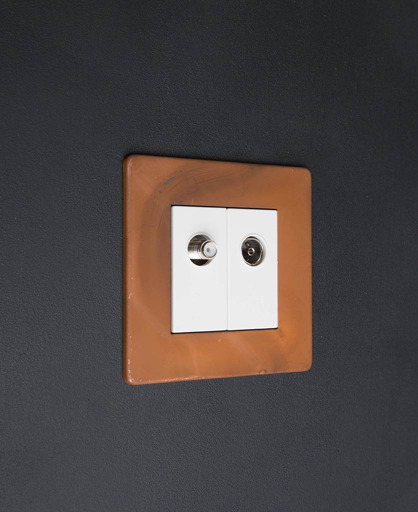 Tarnished Copper & white Double Data Port