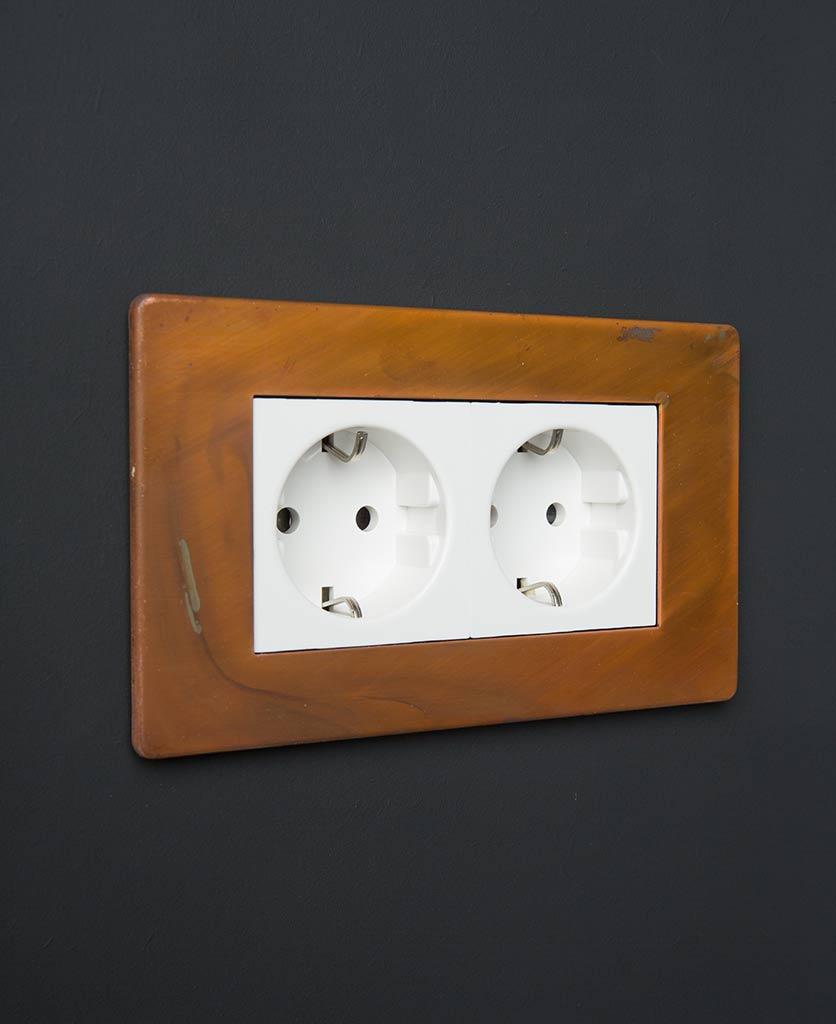 Tarnished Copper & White Double Schuko Socket