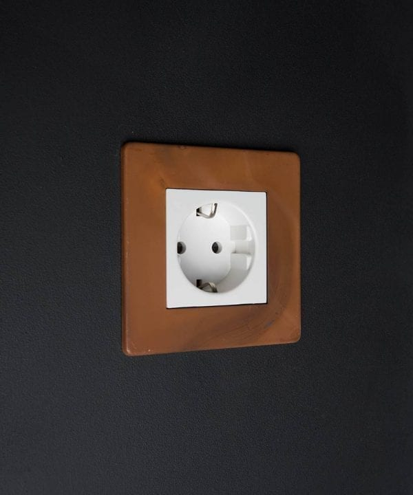 Tarnished Copper & White Schuko Single Socket