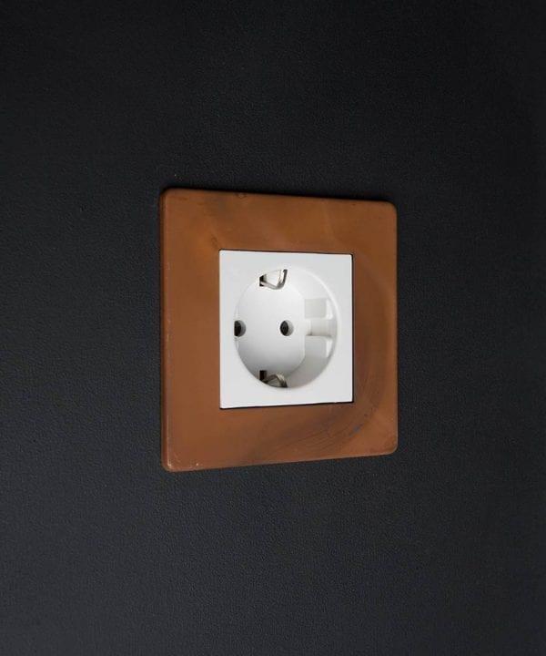 Tarnished Copper & White Schuko Single Socket