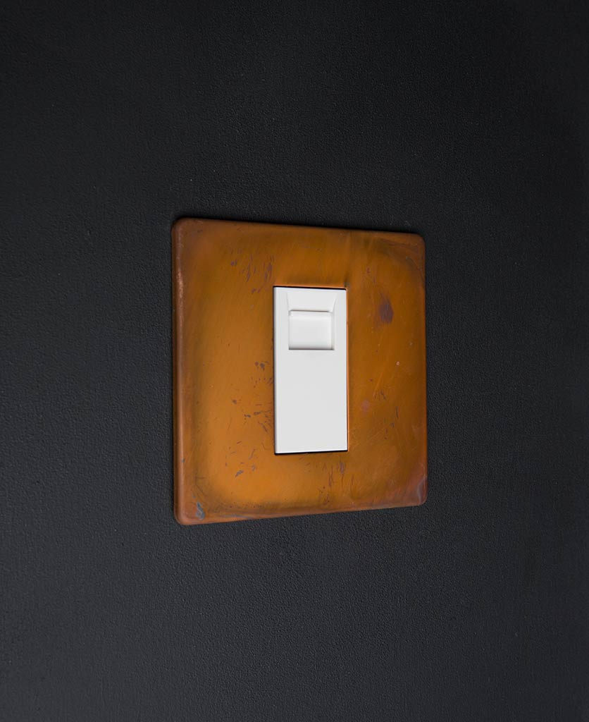 tarnished copper double data port with white inserts against black background