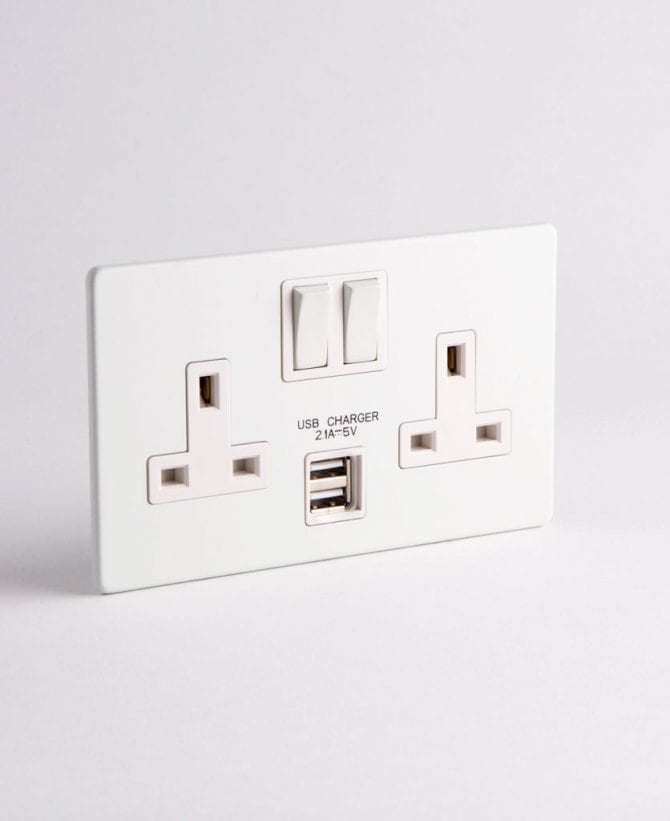 white double socket with USB