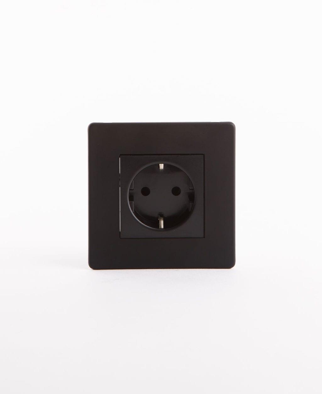 Schuko black single socket