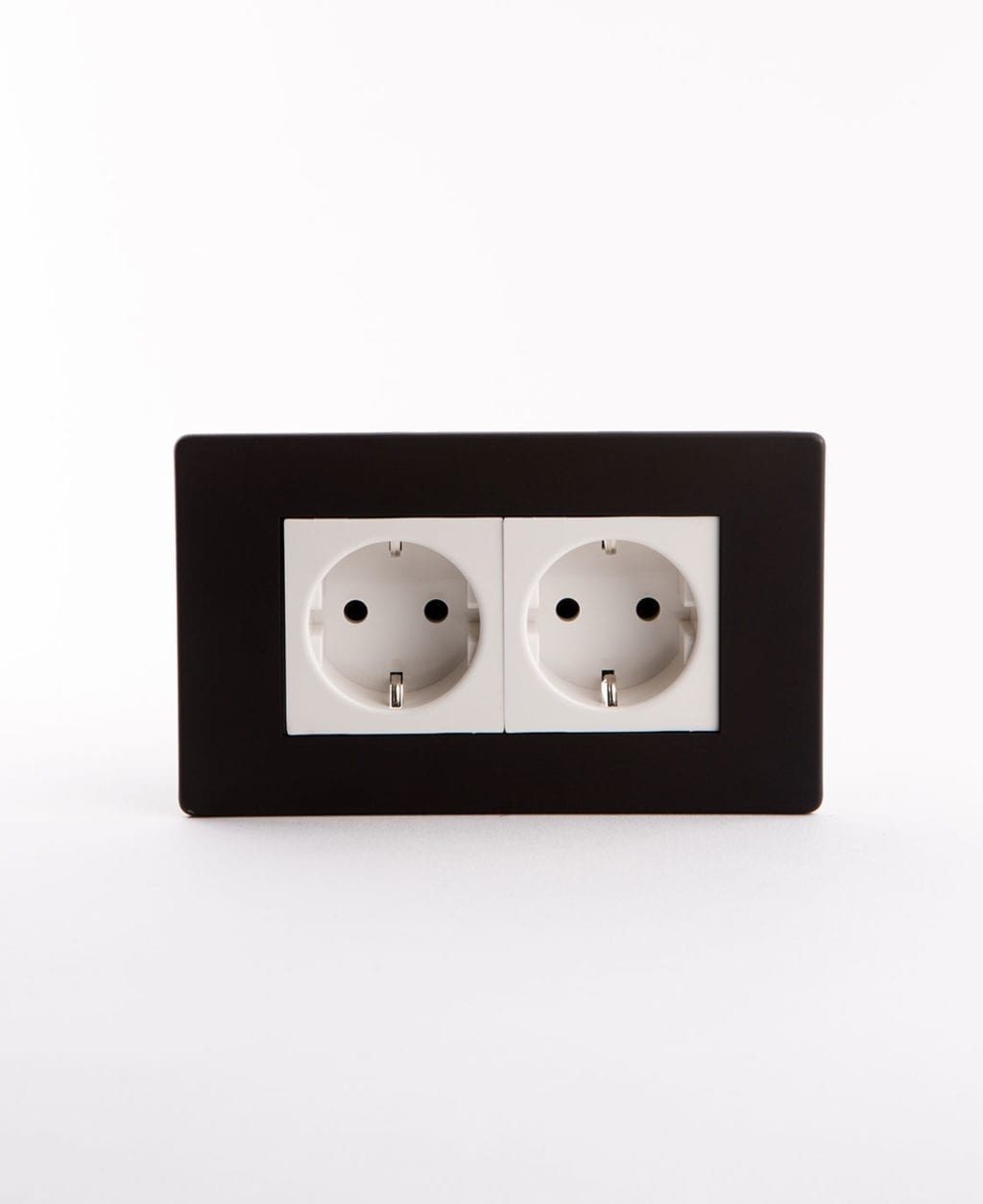 Double black Schuko socket with white inserts