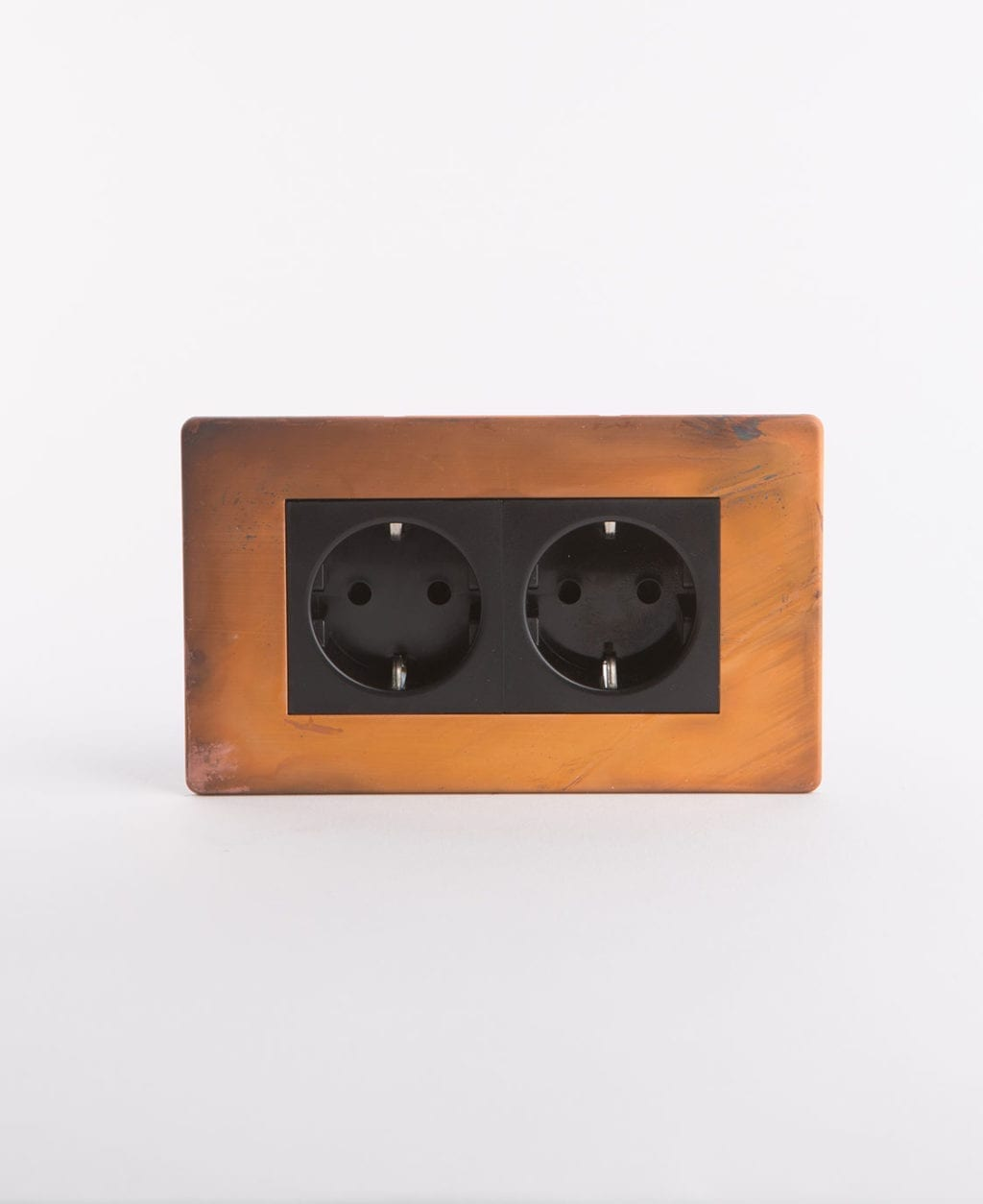 Schuko double copper socket with black inserts