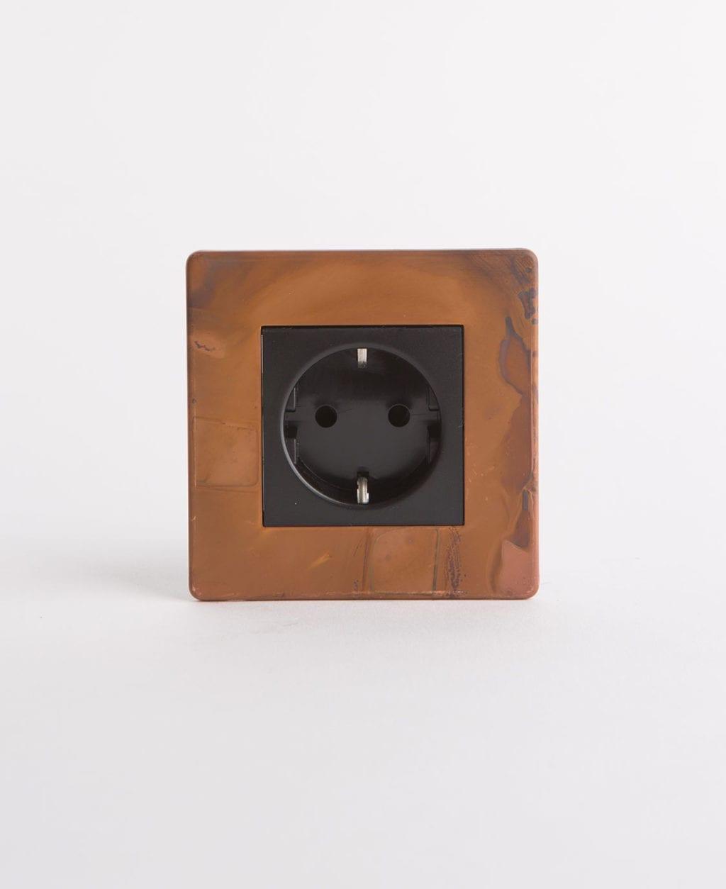 copper Schuko single socket