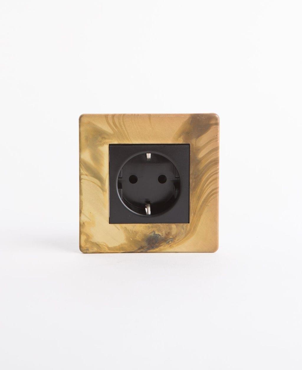gold Schuko single socket with black insert