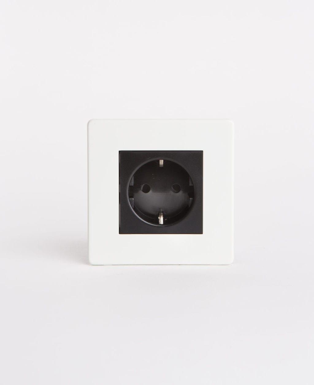 single white Schuko socet with black insert