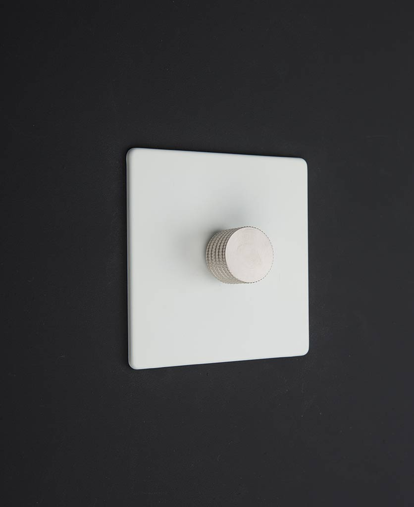 white LED dimmer switches with silver dimming knobs
