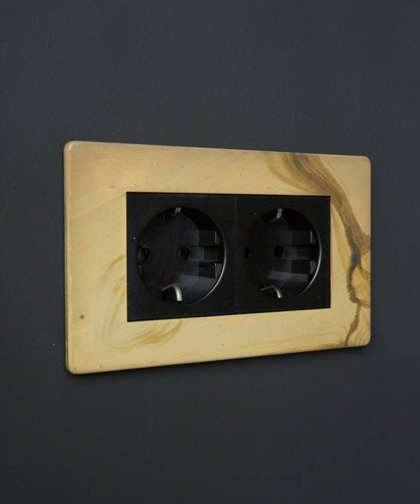 Smoked Gold & Black Double Schuko Socket