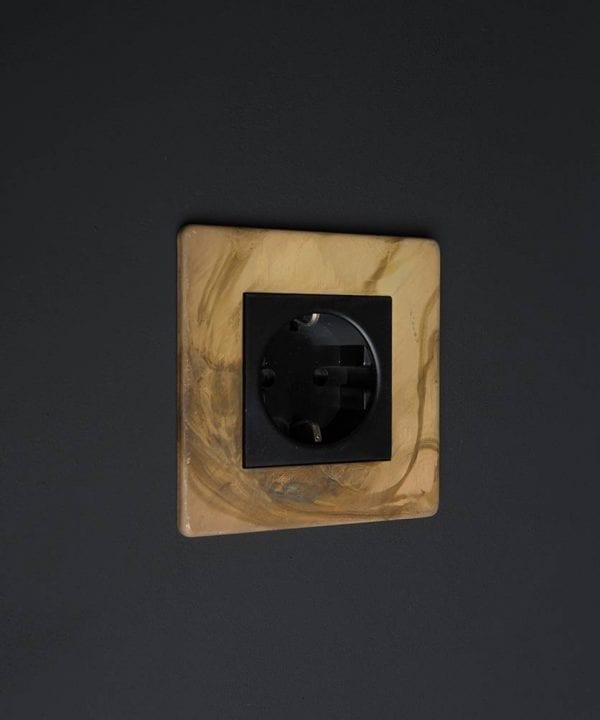 Smoked Smoked Gold & Black Schuko Single Socket