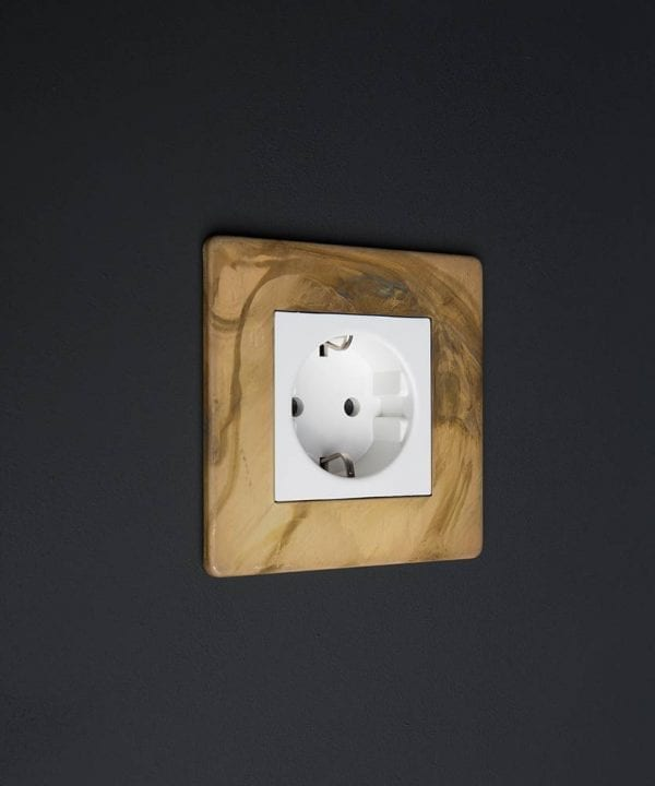 Smoked Smoked Gold & White Schuko Single Socket