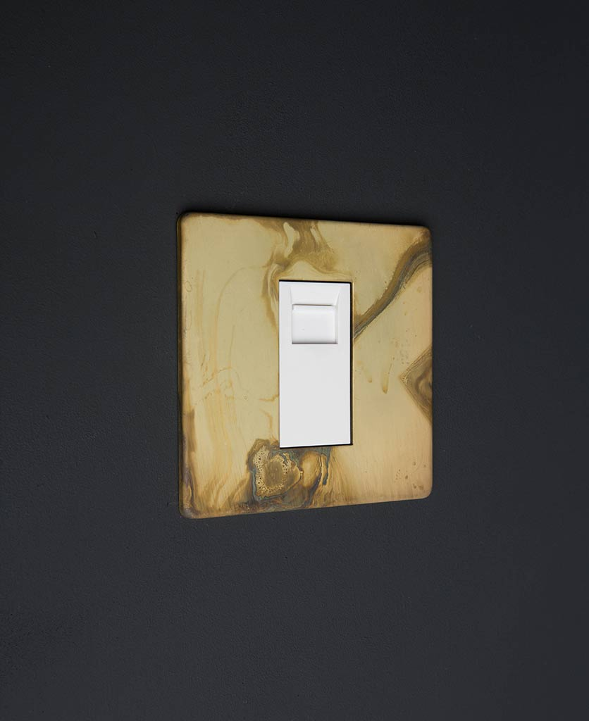 smoked gold single data port with white insert against black background
