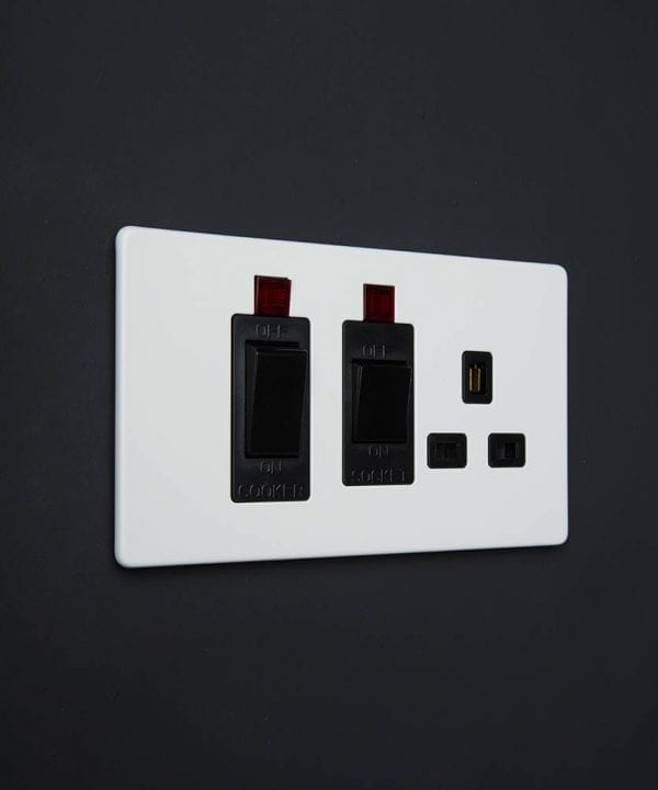 white & black cooker switch & socket