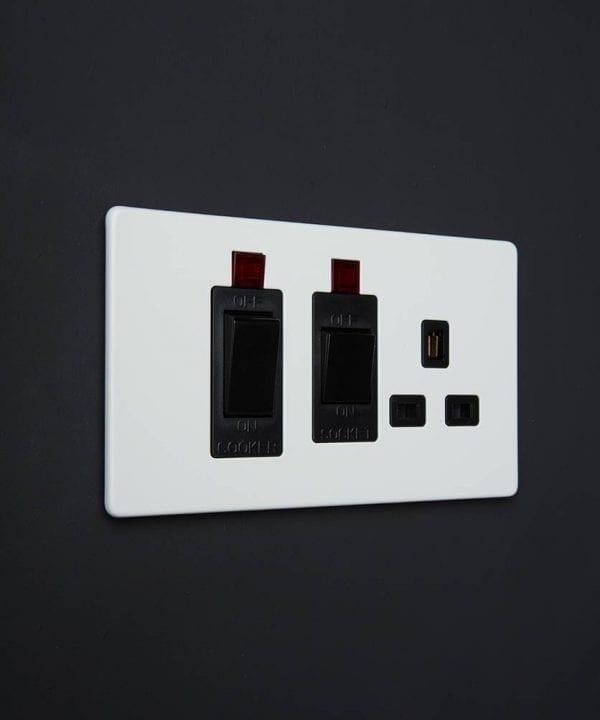 white & black cooker switch & socket