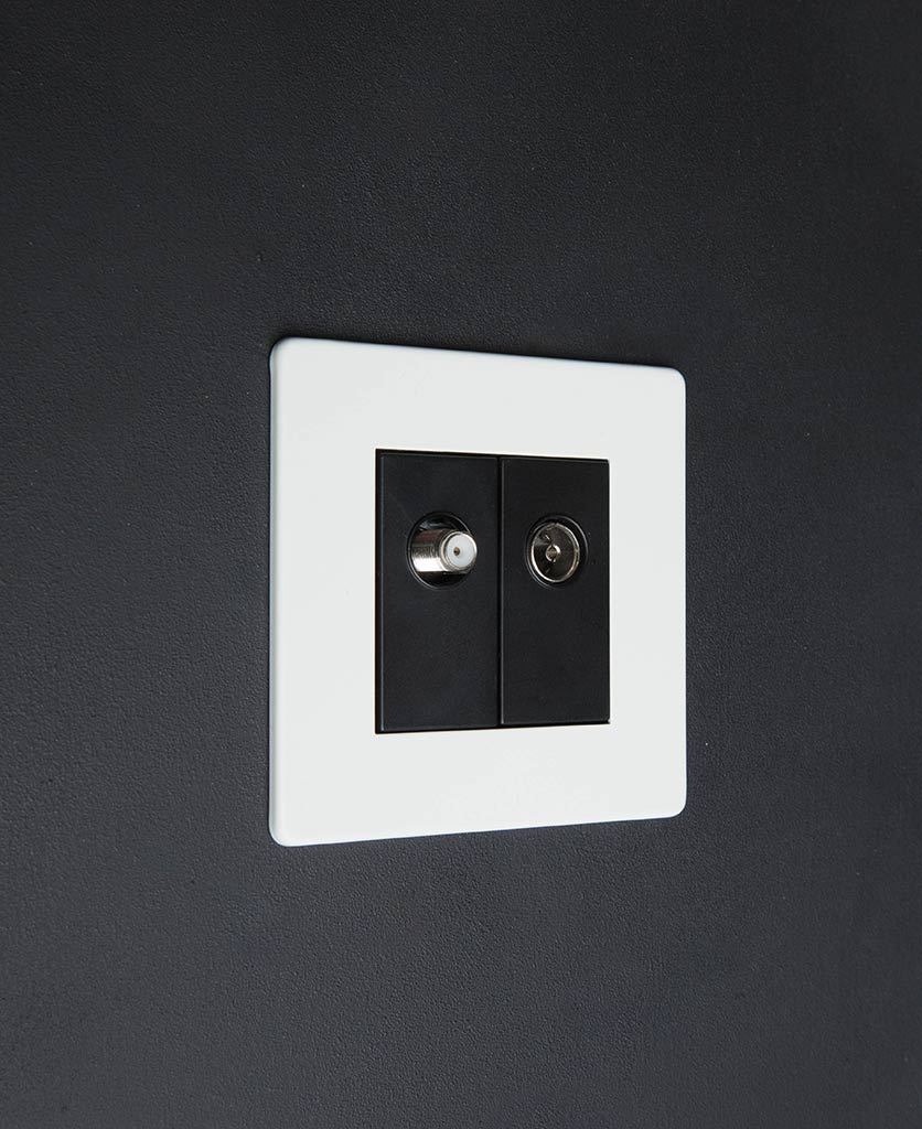 white double data port with black inserts against black background
