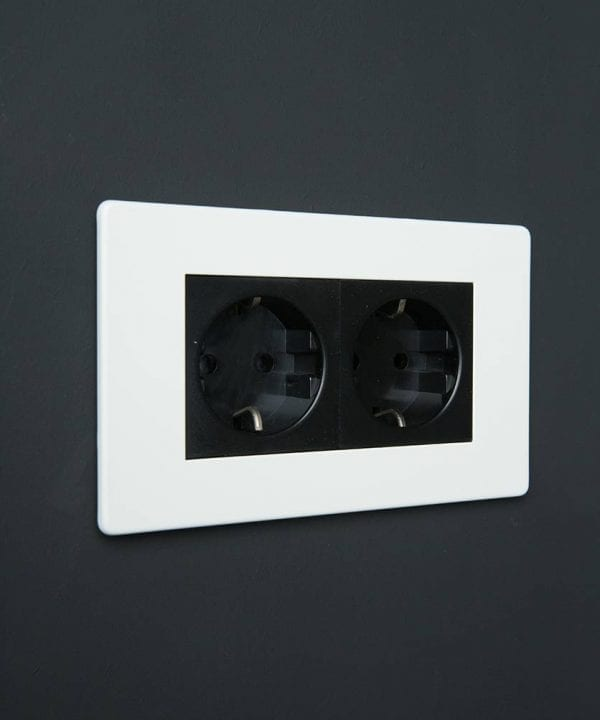 White & black Double Schuko Socket