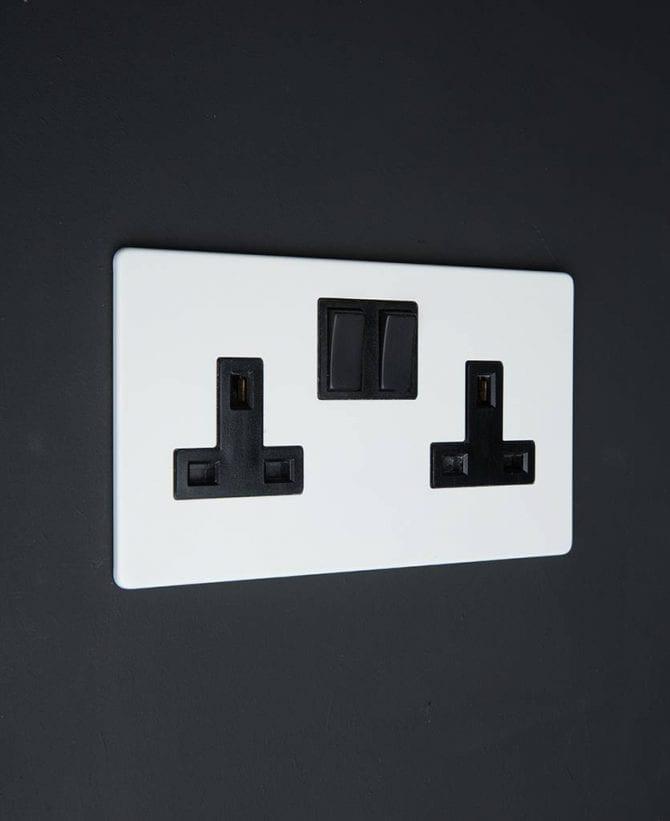 white & black double plug socket