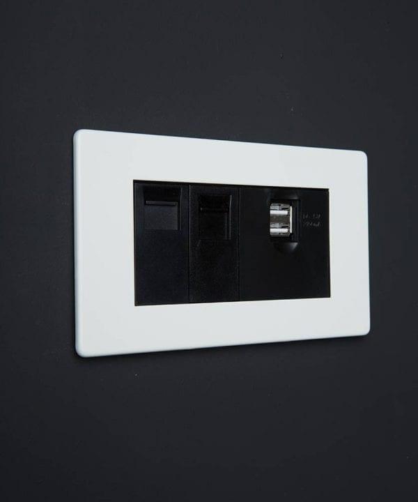white & black quad data port