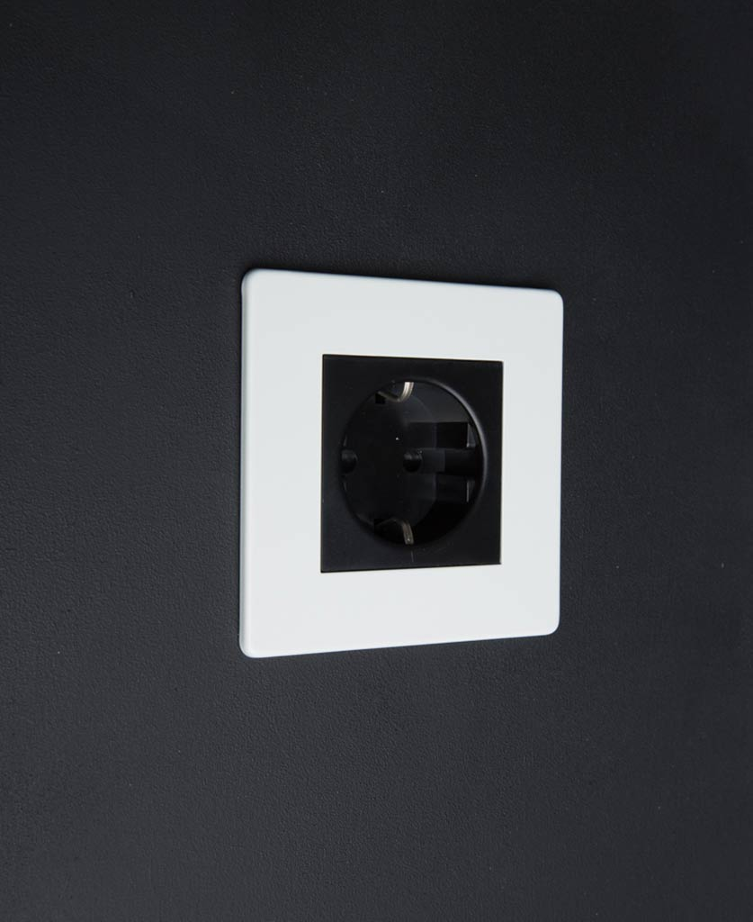 White & Black Schuko Single Socket