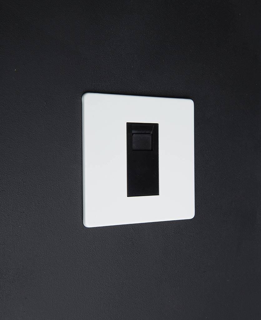 white single data port with black inserts against white background