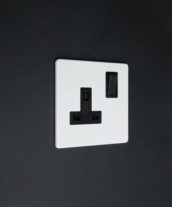 white and black single plug socket on black background