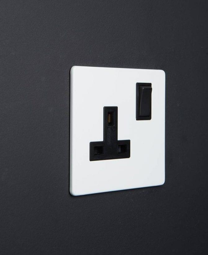 white & black plug socket