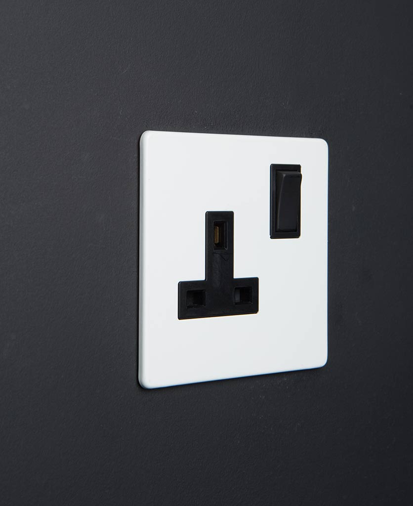 white socket with black inserts against a black background