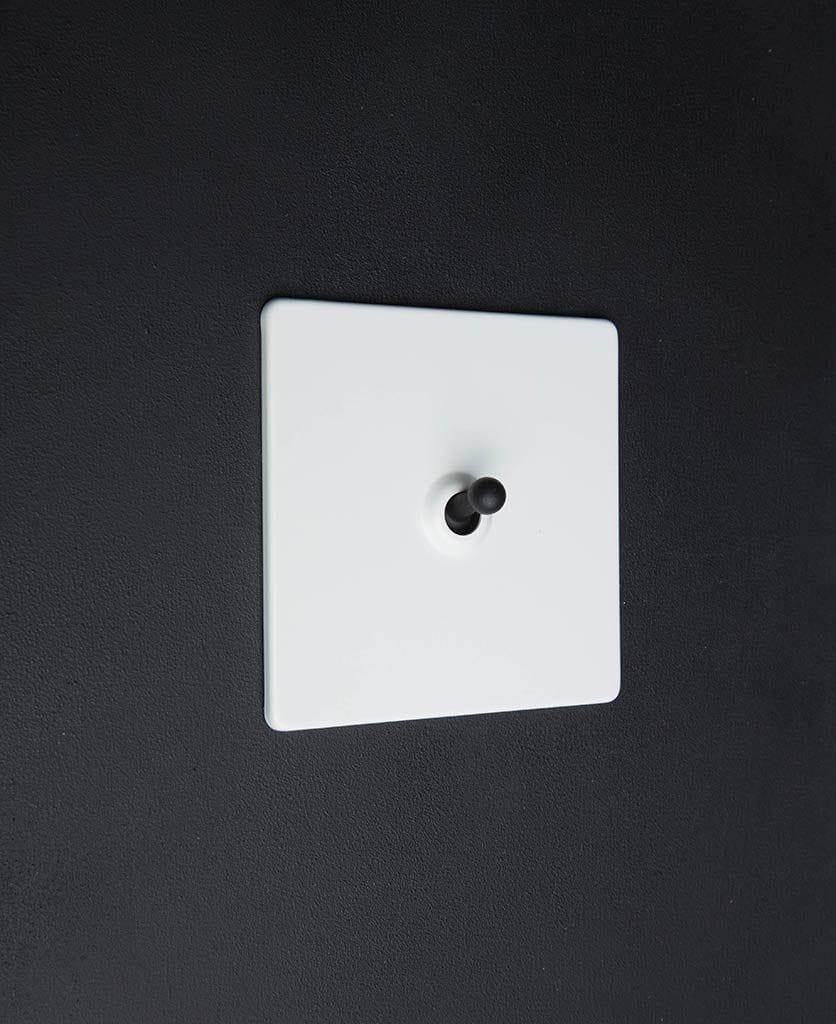 white and black single toggle switch against black background