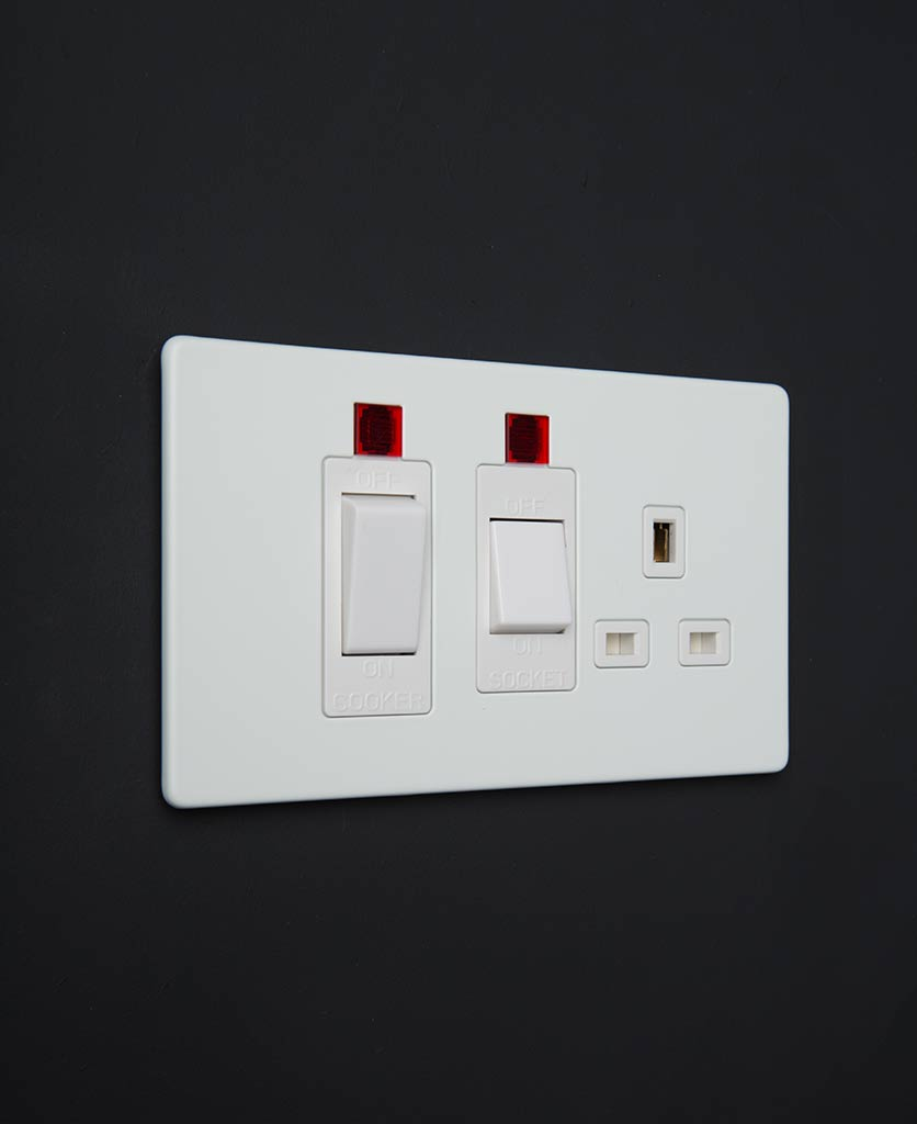 white cooker switch & socket
