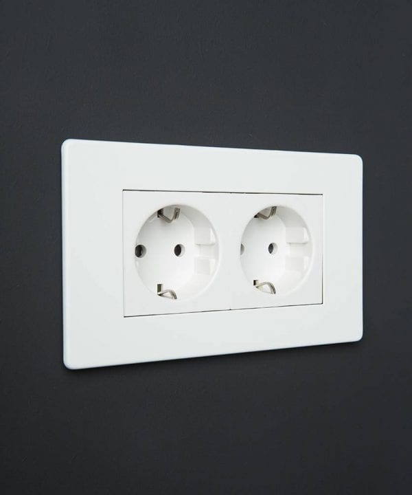 White Double Schuko Socket