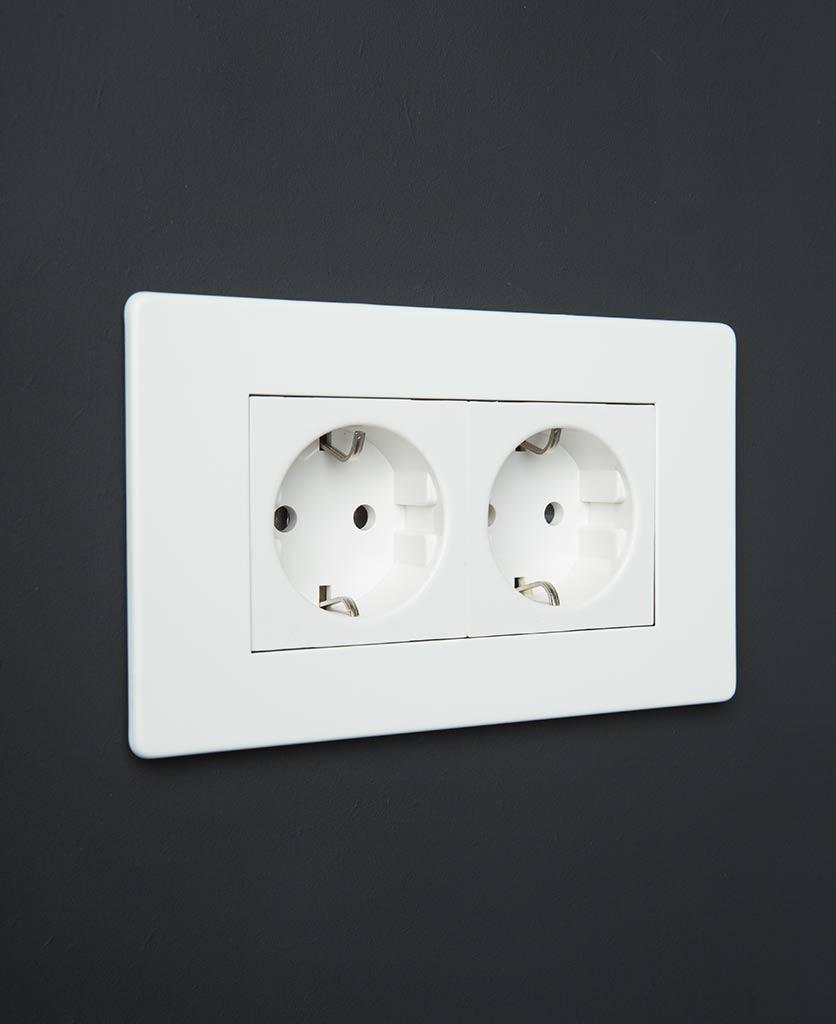 White Double Schuko Socket