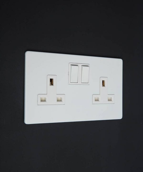 white double plug socket