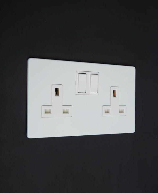 white double plug socket