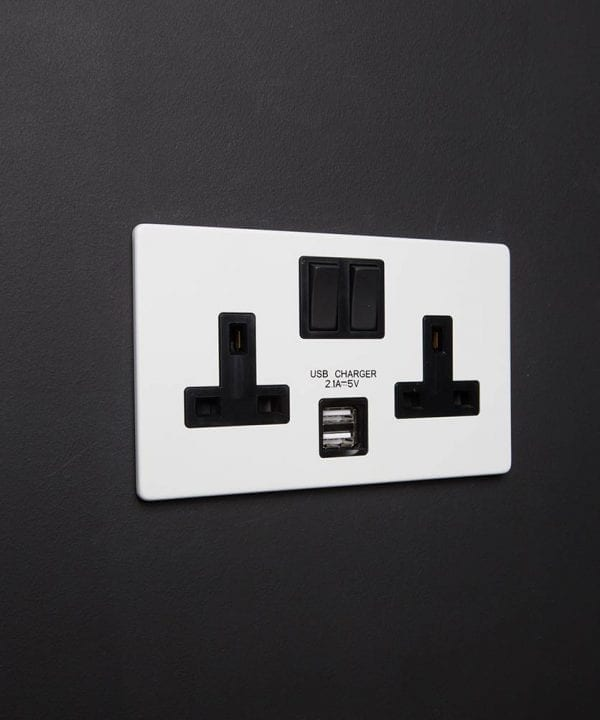 white double socket with USB ports