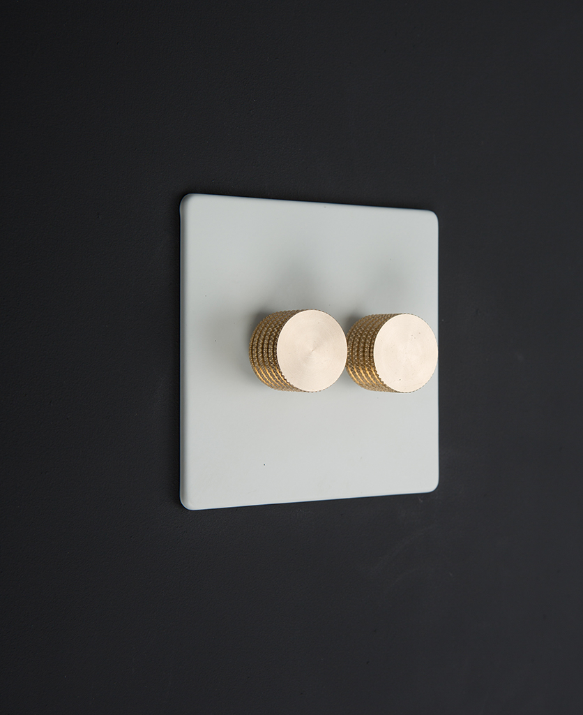 white 2 gang dimmer switch with 2 gold dimming knobs