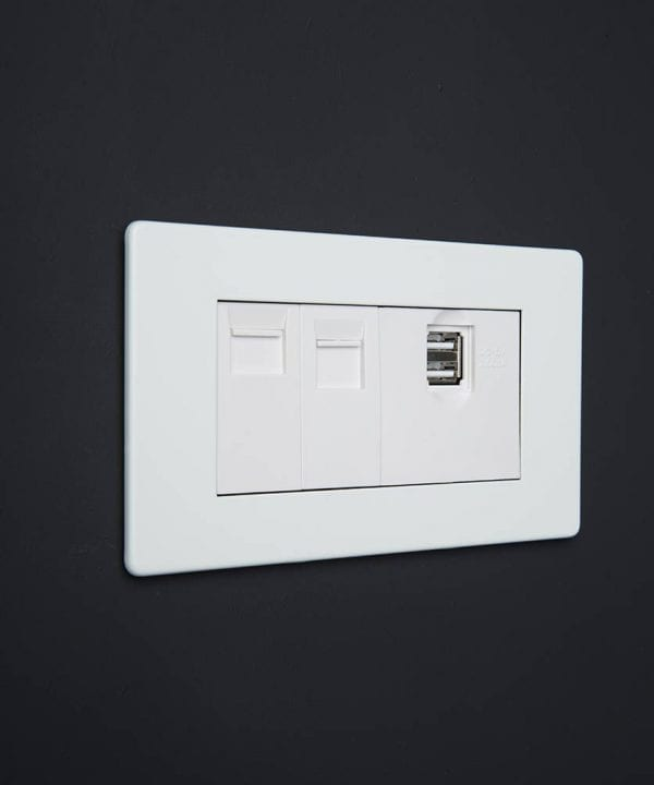 white quadruple data port socket