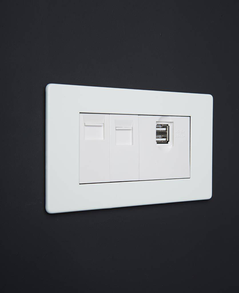 white quadruple data port socket