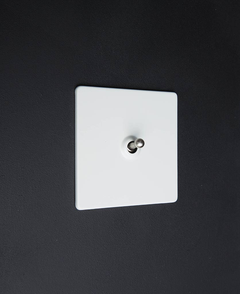 White Single Toggle Light Switch With Black Gold White Or Silver