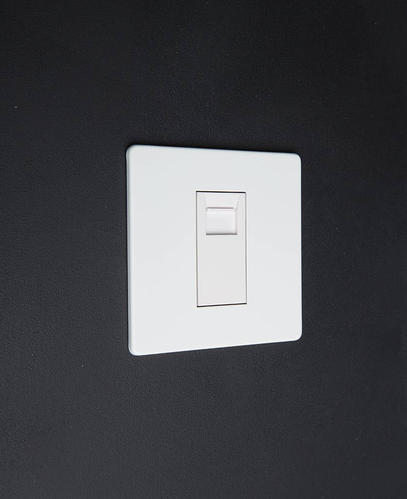 white single data port with white inserts against white background