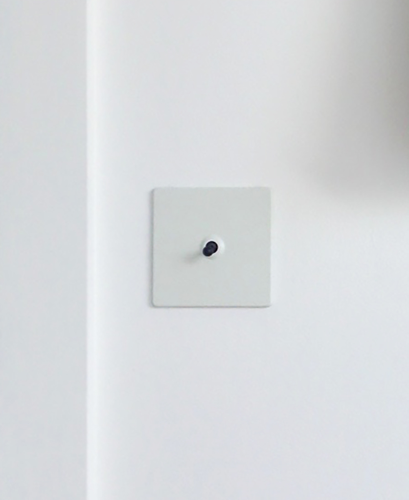 white & black single toggle switch against white wall