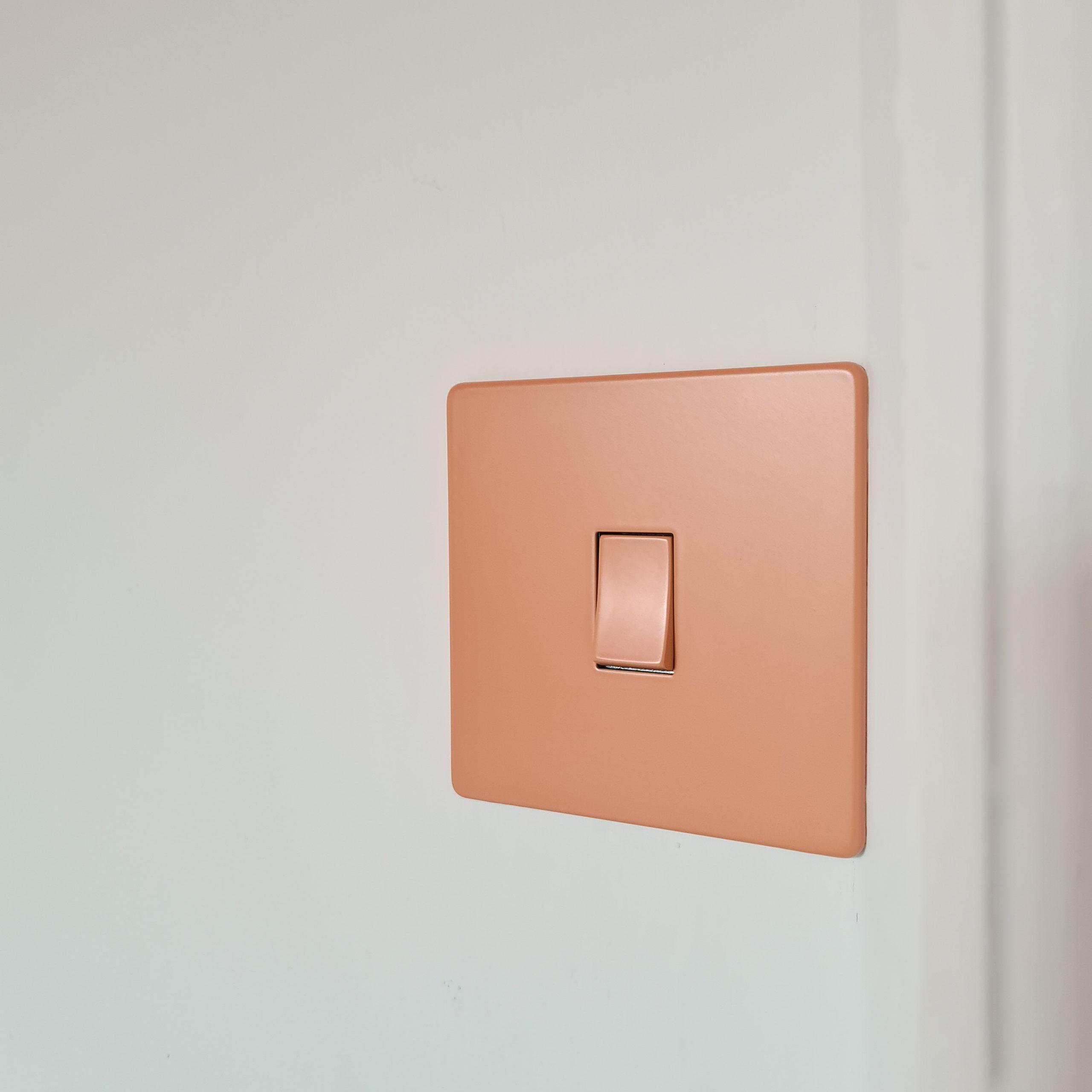 cinnamon single rocker switch on white wall