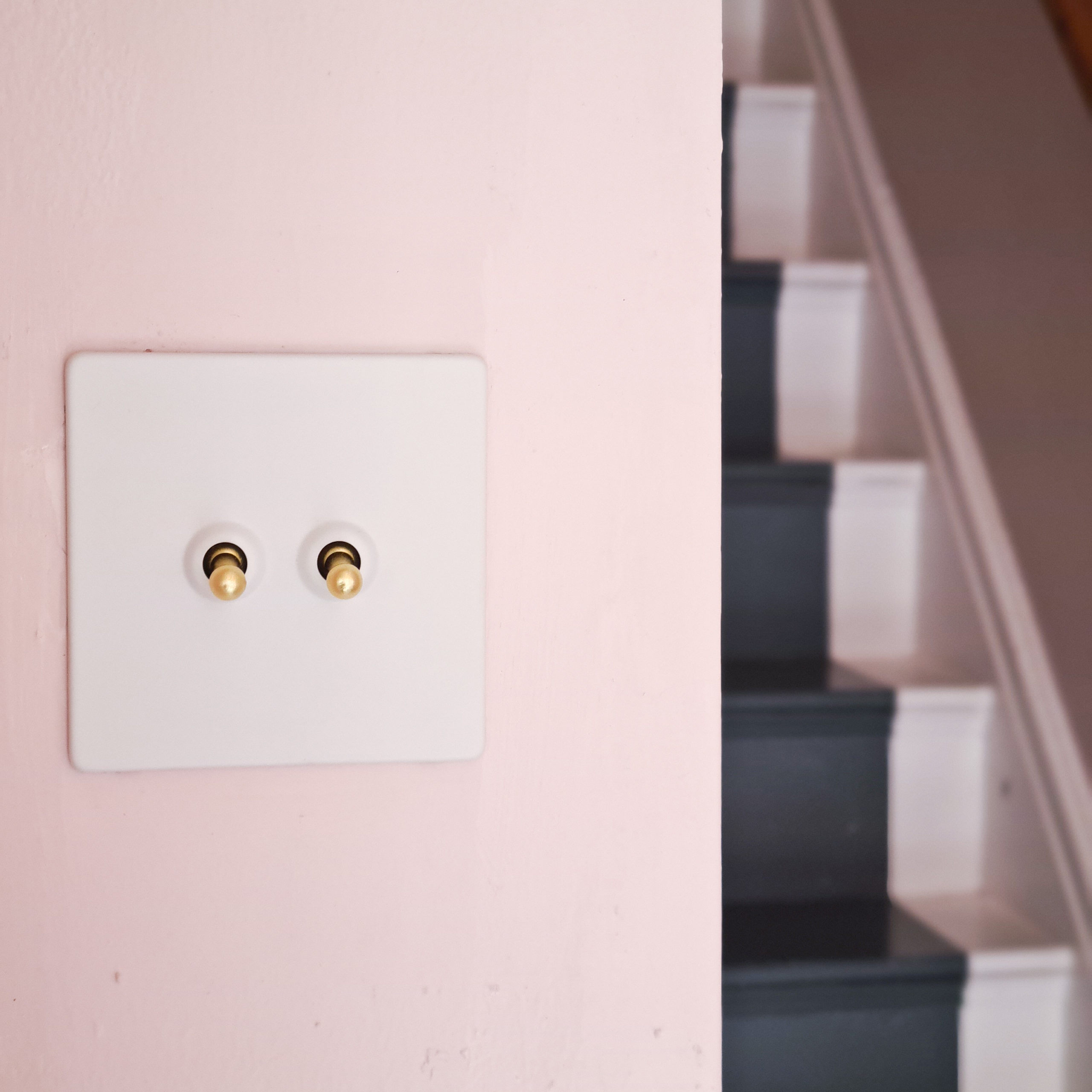 white double toggle switch on soft pink wall