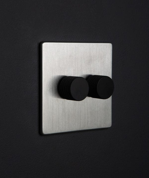 Silver led light dimmer switch with 2 black knurled dimming knobs