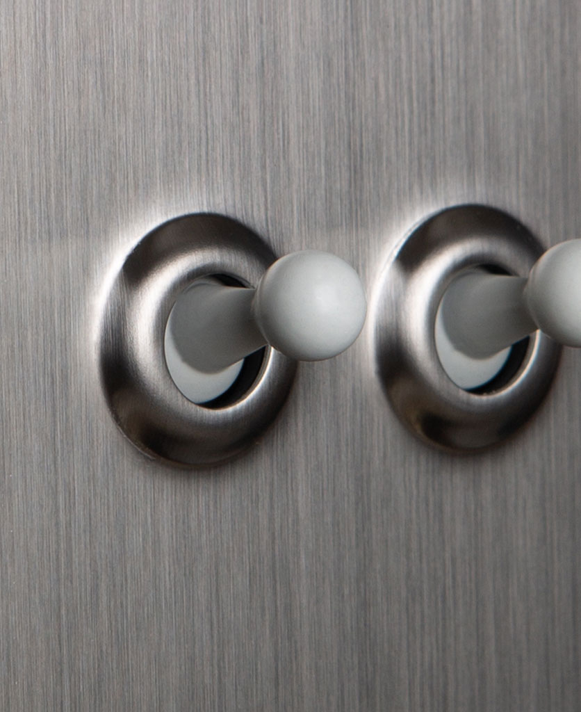 closeup of silver and white double toggle switch