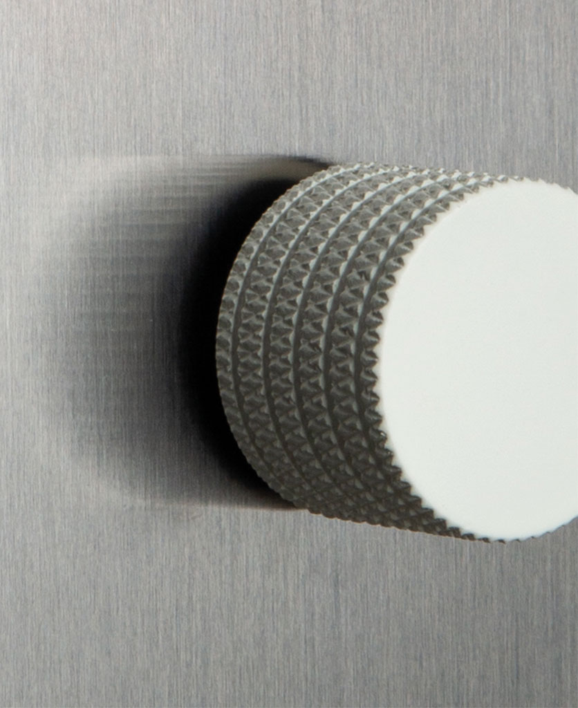 closeup of silver and white single dimmer
