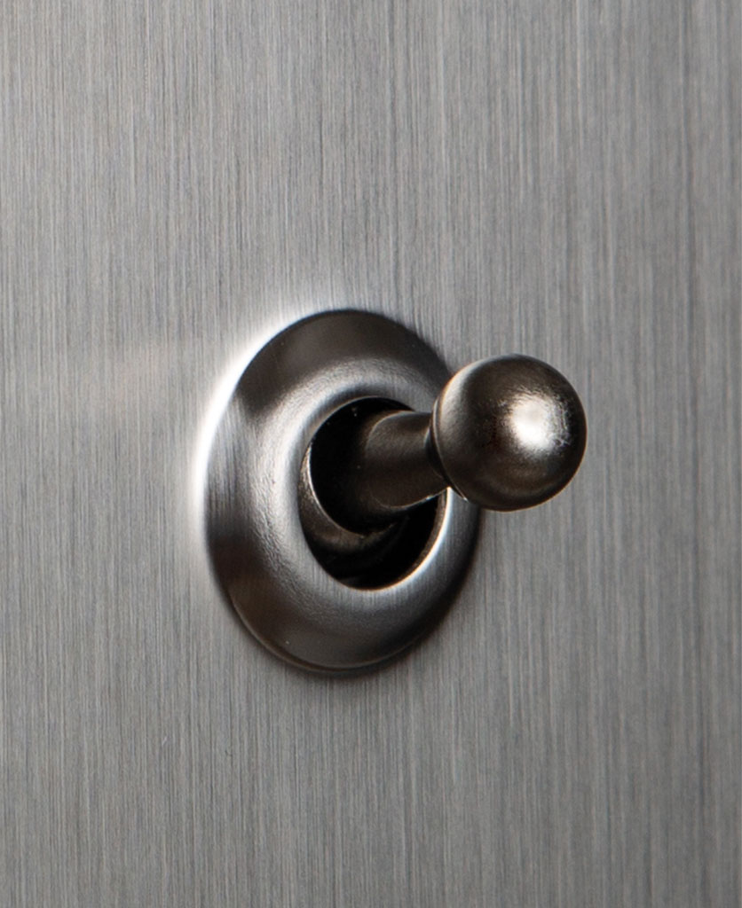 closeup of silver and silver single toggle switch